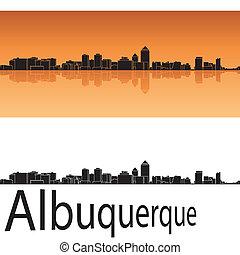 Albuquerque skyline in orange background in editable vector...