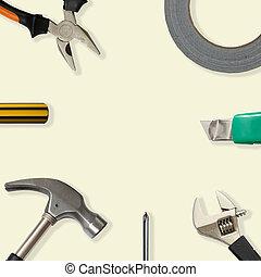 herramientas, con, copia, espacio