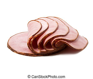 sliced smoked meat isolated on white background