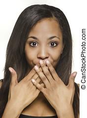 mulher, expressão,  facial, escondendo
