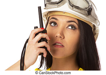 Woman with cb radio, portrait - Woman with cb radio,...