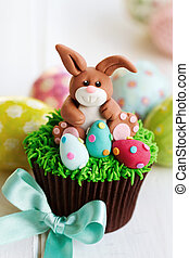 Easter bunny cupcake - Cupcake decorated with an Easter...