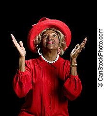 hermoso, African - american, mujer, el adorarse