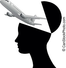 air open head - illustration of black open head with...