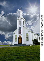 Church and Clouds - Historic Saint Teresa of Avila church in...