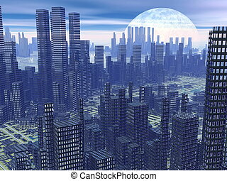 Futuristic city - 3D render - Modern alien futuristic city...