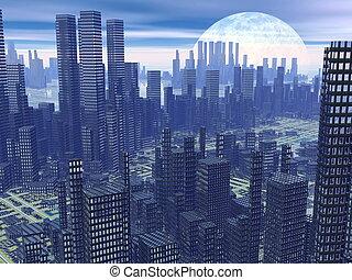 Futuristic city - 3D render - Modern alien futuristic city...