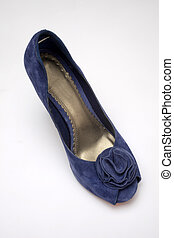 Blue high heeled shoe