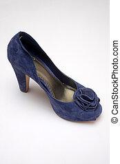 Blue high heeled shoe
