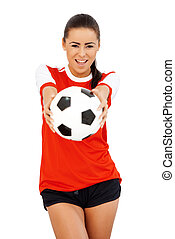 Happy girl with soccer ball over white background