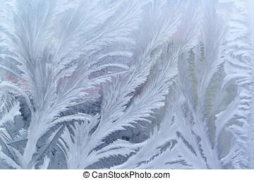Window frost pattern on glass - Feathery frost pattern - ice...