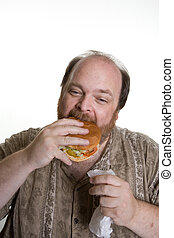 obese man eating fast food