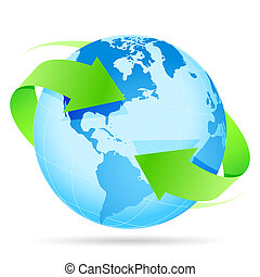 Icon Planet Earth Arrow - Icon Blue Planet Earth and Green...