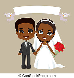 Black Couple Wedding - Illustration of lovely black couple...