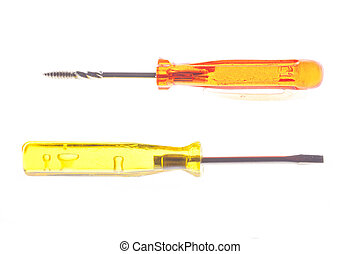 Screwdrivers - A couple of colorful screwdrivers over white