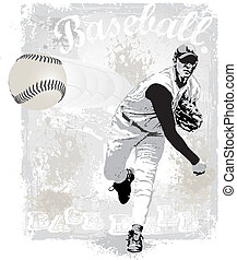 Pitcher strike - illustration for shirt printed and poster