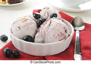 Blueberry cheesecake ice cream - A bowl of blueberry...