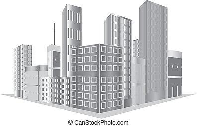 Buildings vector - vector grey buildings