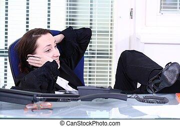 usando, trabalho, privado, telefone