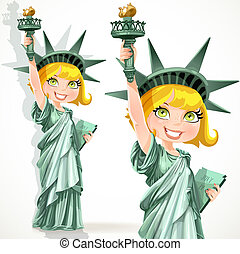 Girl dressed as the Statue Liberty - Blonde girl dressed as...