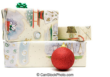 wrapped presents isolated on white, christmas time.