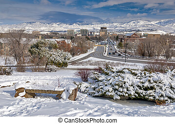View of Boise Idaho down Capital Boulevard winter - City of...