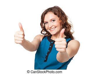 mulher, Dar, dois, cima, enquanto, polegares, Retrato,...