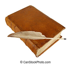 The ancient book and old goose feather
