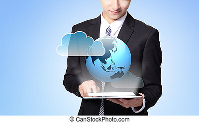 world in your hand - handsome business man using touch...