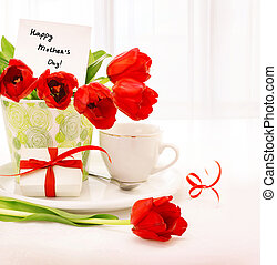 Happy mothers day - Picture of beautiful tulips pot with...