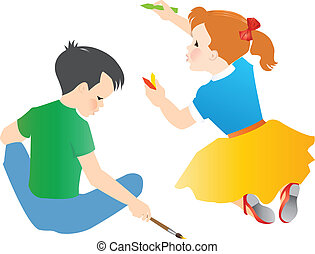 Kids Drawing - kids drawing and painting background,...