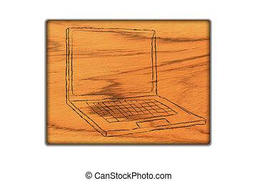 laptop symbol  on   wood background.
