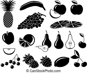 Set icons of fruit in black and white