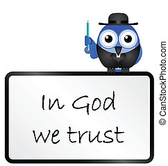 trust in the Lord message - Bird vicar with trust in the...