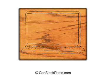 laptop symbol on wood background