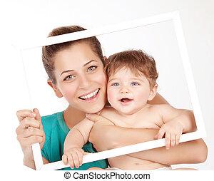encantador, mamá, bebé, niño