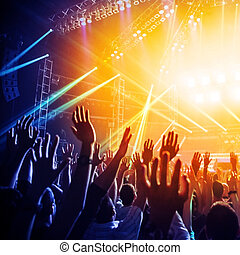 Rock concert - Photo of many people enjoying rock concert,...