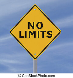 No Limits - Conceptual road sign (against a blue sky...