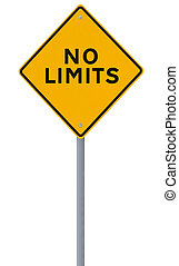 No Limits  - Conceptual road sign (on white)
