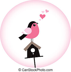 Cute Valentine Bird with a Birdhouse Vector