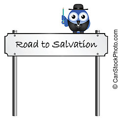 Road to Salvation street name sign isolated on white...