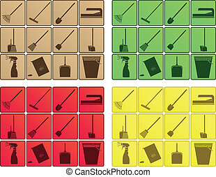 4 sets of cleaning icons - 4 vector sets of cleaning icons