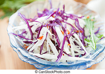 salad of red and white cabbage, food closeup