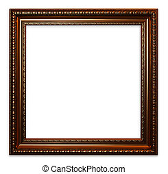 Old vintage wooden frame - Old red brown isolated vintage...