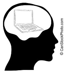 Brain connected to a laptop computer - isolated over a white...