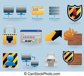 Computer and network icons set for web design