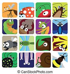 inseto, ícones, jogo