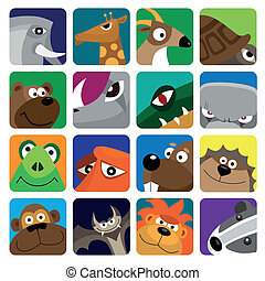 Wildlife animals set icon - wild animals vector icon set