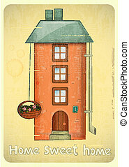 Cartoon Houses Postcard. Urban Brick Condo on Vintage...