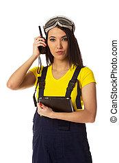Woman with cb radio, portrait. - Woman with cb radio,...